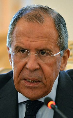 Russian Foreign Minister Sergei Lavrov speaks in Moscow on May 19, 2014. (photo credit: AFP/Yuri Kadobnov)