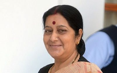 India's new Minister of External Affairs Sushma Swaraj in New Delhi on May 27, 2014. (photo credit: AFP PHOTO/RAVEENDRAN)