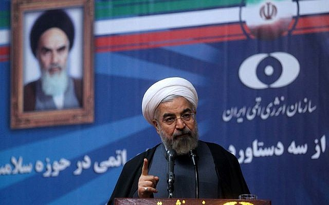 Iranian President Hassan Rouhani delivers a speech during a ceremony at the Iran's Atomic Energy Organization (AEOI) in Tehran on May 11, 2014.  (photo credit: AFP/HO/ PRESIDENCY WEBSITE)
