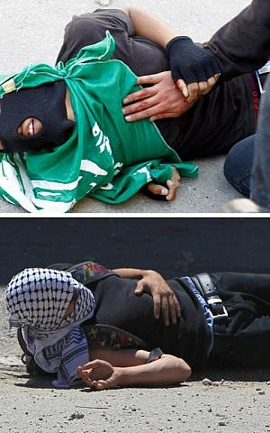 A combo of pictures shows Palestinian youths Mohammad Mahmoud Odeh (top) and Nadeem Siam Nawara lying on the ground after they were shot, allegedly by Israeli forces, following a protest outside the Israeli-run Ofer prison on Thursday, May 15, 2014 (photo credit: AFP/Abbas Momani)