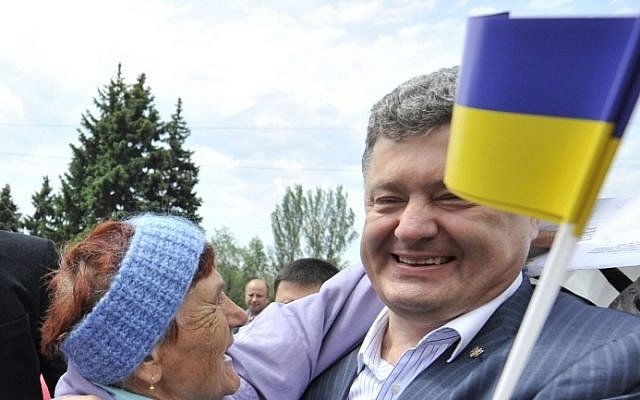 Ukrainian President Petro Poroshenko on May 18, 2014, in the Dnepropetrovsk region. (photo credit: AFP/POROSHENKO PRESS-SERVICE/MYKOLA LAZARENKO)