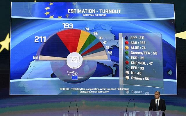 The number of seats gained by each party appears on the screen of the hemicycle of the European Parliament, in Brussels, during the announcement of the European elections results on May 25, 2014. (photo credit: AFP /JOHN THYS)