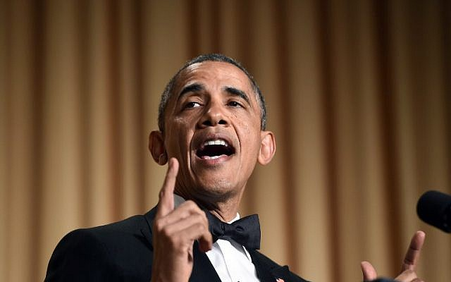 US President Barack Obama tells jokes during the White House Correspondents' Association Dinner on May 3, 2014 in Washington, DC. (AFP/Jewel Samad)