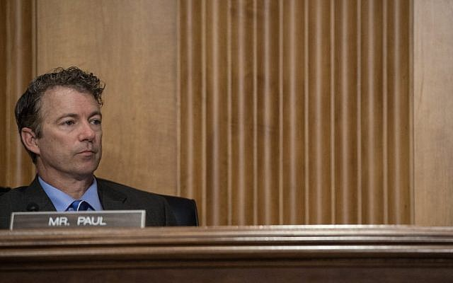 Rand Paul looks on during a Senate Foreign Relations Committee hearing on the situation in Ukraine on Capitol Hill in Washington on May 6, 2014. (photo credit: AFP/Nicholas Kamm)