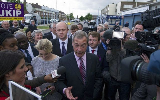 UK Independence Party (UKIP) leader Nigel Farage speaks to supporters during a visit to Thurrock in Essex, on May 23, 2014. (photo credit: AFP Photo /Carl Court)