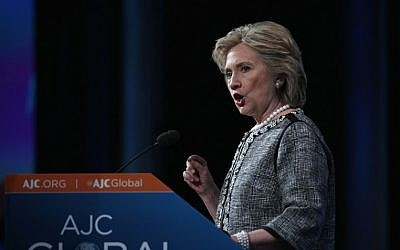 Former US secretary of state Hillary Clinton addresses the American Jewish Committee Global Forum on Wednesday, May 14, 2014 (photo credit: Alex Wong/Getty Images/AFP)