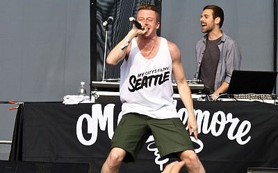 Macklemore and Ryan Lewis performing in 2011. (photo credit: CC BY Christopher Dube/Wikipedia)