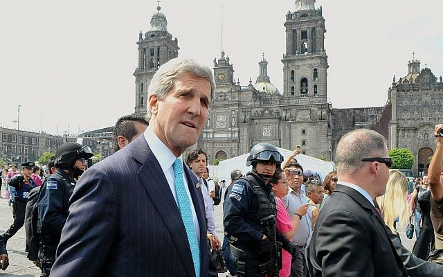 John Kerry in Mexico on May 21, 2014. (photo credit: US State Department)