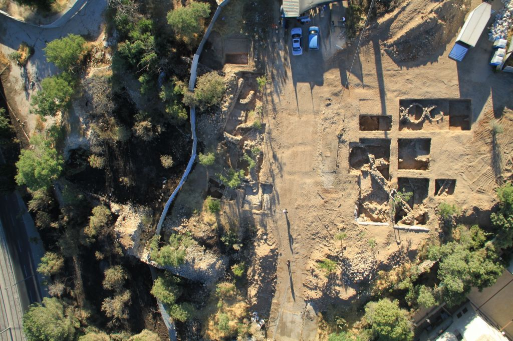 An aerial view of the excavation area where a Crusader-era seal was discovered, in Bayit Vegan, Jerusalem. (photo credit: credit: Skyview Company/Israel Antiquities Authority)