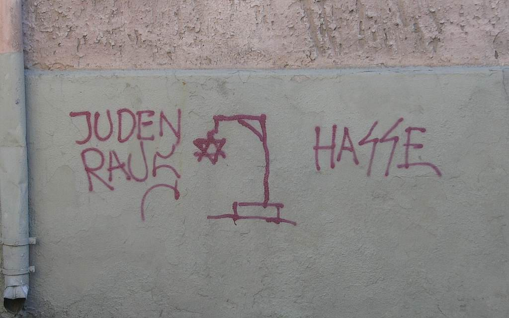 Illustrative photo of anti-Semitic graffiti in Europe (CC BY-SA Beny Shlevich/Flickr)