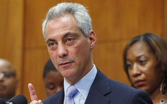 Illustrative photo of Chicago Mayor Rahm Emanuel speaking at a news conference, October 15, 2013 (photo credit: AP/M. Spencer Green)