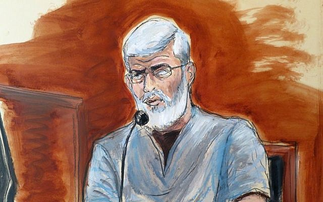 In this courtroom drawing, Mustafa Kamel Mustafa, testifies in his own defense at federal court in New York, Wednesday, May 7, 2014. (photo credit: AP/Elizabeth Williams)