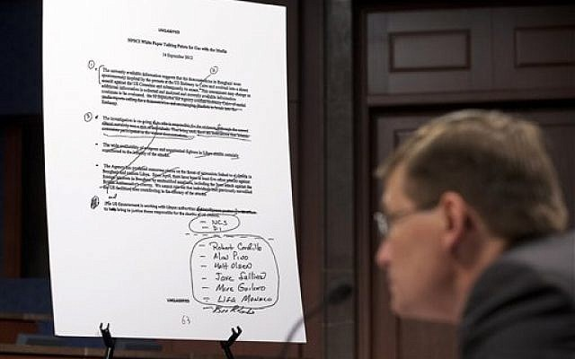 An unclassified talking points document is shown as former CIA Deputy Director Michael Morell testifies on Capitol Hill in Washington, Wednesday, April 2, 2014, before the House Intelligence Committee. (photo credit: AP/Manuel Balce Ceneta)
