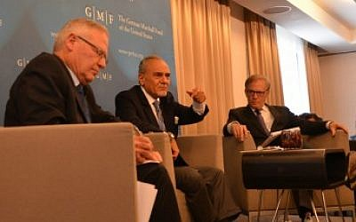 Saudi Prince Turki bin Faisal Al Saud (center) and Amos Yadlin (left) speak May 26, 2014 in Brussels, with David Ignatius at right (photo credit: JTA)