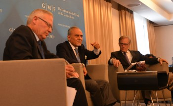 Saudi Prince Turki bin Faisal Al Saud (center) and Amos Yadlin (left) speak May 26 in Brussels, with David Ignatius at right (photo credit: JTA)