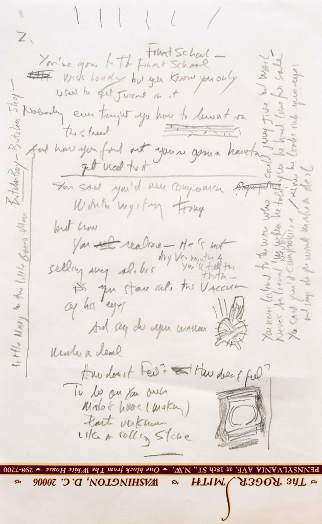 "This undated photo provided by Sotheby's shows a page from a working draft of Bob Dylan's ""Like a Rolling Stone,"" one of the most popular songs of all time. (photo credit: AP/Sotheby's)"