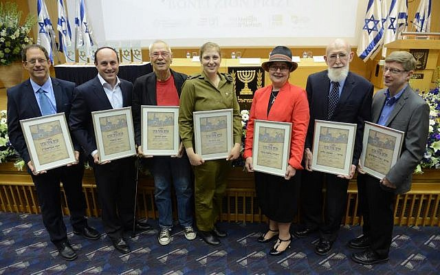 Bonei Zion award winners (from left): Abramowitz, Gitler, Kirschen, Lee, Bina, Glick and Hausdorff. (photo credit: Courtesy Nefesh B'Nefesh)