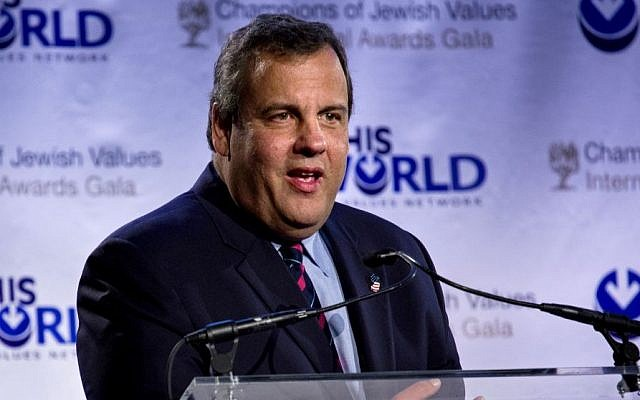 Keynote speaker New Jersey Gov. Chris Christie addresses attendees at the Second Annual Champions of Jewish Values Awards Gala in New York Sunday, May 18, 2014.. (Photo credit: AP/Craig Ruttle)