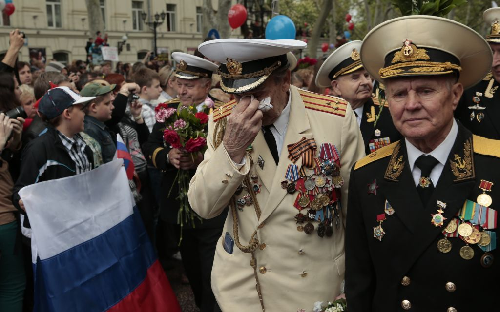 WWII veterans march during a Victory Day military parade in Sevastopol, Crimea, on Friday (photo credit: AP/Ivan Sekretarev)
