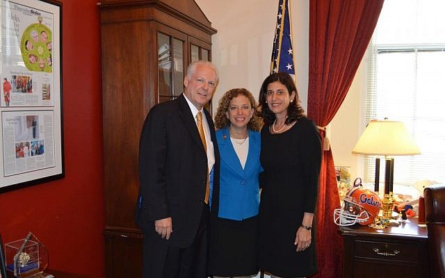 Yekutiel and Sheryl Wultz with Debbie Wasserman Schultz (center), Thursday, May 1, 2014. (photo credit: Courtesy)