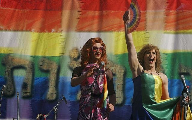 A drag queen performs onstage during a gay rally at the Hebrew University's Givat Ram stadium in Jerusalem, November 10, 2006. (photo credit: Michal Fattal / Flash90)
