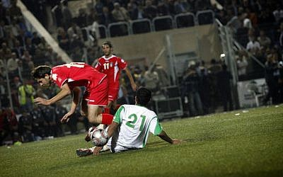 A match between the Palestinian and Jordanian national soccer teams in 2008 (photo credit: Michal Fattal/Flash90)