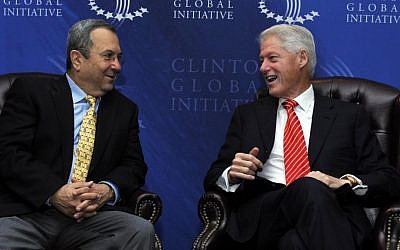 Then-defense minister Ehud Barak, left, with former US president Bill Clinton at the Clinton Global Initiative conference in New York, Sept. 21, 2010 (photo credit: Ariel Hermoni/Ministry of Defense/Flash90)