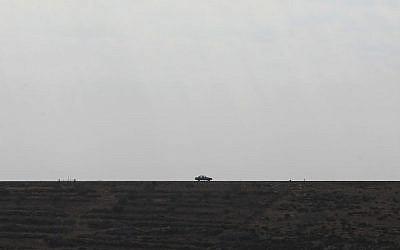 Illustrative photo of a car on a West Bank road, north of Jerusalem (Kobi Gideon/Flash90/File)