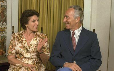 Then prime minister Shimon Peres and his wife Sonya, 1984. (photo credit: Nati Harnik/GPO Flash90)