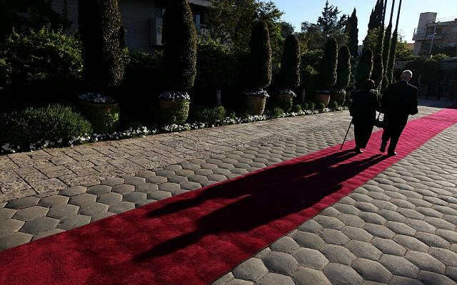 A red carpet at the President's Residence in Jerusalem (photo credit: Kobi Gideon/Flash90)