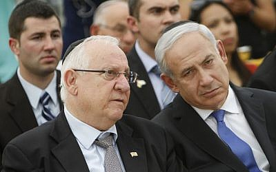 Reuven Rivlin and Prime Minister Benjamin Netanyahu at a 2012 ceremony marking Remembrance Day for Israel's fallen soldiers and victims of terror. (Photo credit: Miriam Alster/ Flash90)