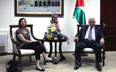 Meretz leader Zahava Gal-on meets with Mahmoud Abbas is Ramallah, August 26, 2012 (photo credit: Issam Rimawi/Flash90)