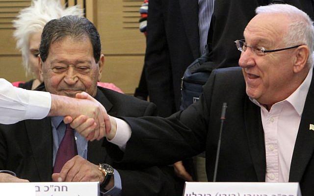 Presidential candidates Reuven Rivlin (right) and Binyamin Ben-Eliezer (photo credit: Miriam Alster/Flash90)
