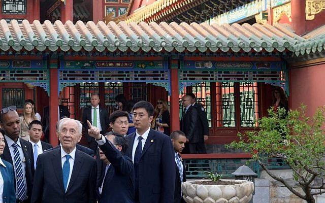 President Shimon Peres visits the Forbidden City in Beijing. April 09, 2014. (Photo credit: Amos Ben Gershom/GPO/Flash 90)