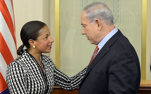 Prime Minister Benjamin Netanyahu meets with Susan Rice, United States National Security Adviser, at the Prime Minister's Office in Jerusalem on May 7, 2014. (Matty Stern/US Embassy TLV/Flash90)