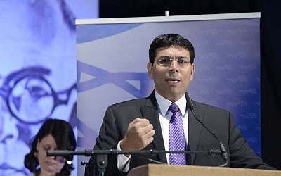 Deputy Defense Minister Danny Danon speaks at the 4th Likud Party conference at the Tel Aviv Fairgrounds, May 7, 2014. (Tomer Neuberg/Flash90)