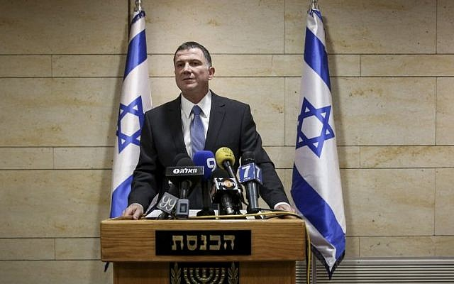 Speaker of the Knesset Yuli Edelstein on May 19 announces that elections for presidency will take place on June 10. (photo credit: Hadas Parush/Flash90)