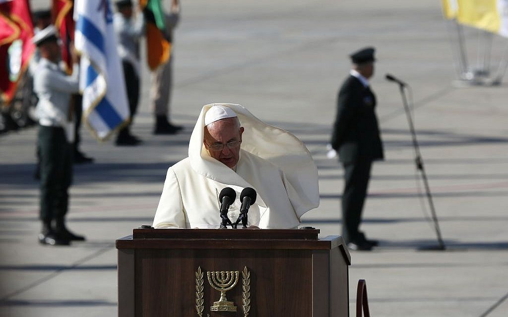 Pope Francis speaking at Ben-Gurion International Airport on Sunday, May 25, 2014. (photo credit: Miriam Alster/Flash90)