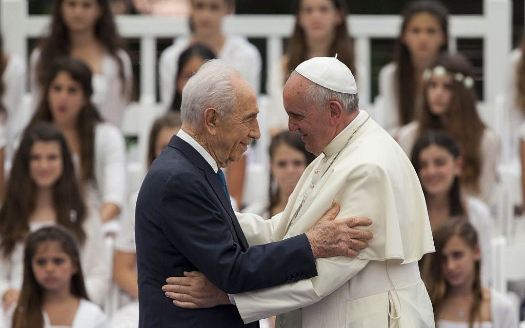 Pope Francis seen with President Shimon Peres at a ceremony held at the president's residence in Jerusalem, on May 26, 2014. (photo credit: Yonatan Sindel/Flash90)