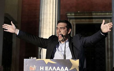 Syriza party and main opposition leader Alexis Tsipras delivers a speech to his supporters in Athens, May 26, 2014. (photo credit: AP/Thanassis Stavrakis)
