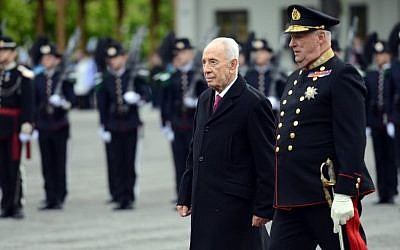 President Shimon Peres in Oslo, Norway, on May 12, 2014 (photo credit: Haim Tzach/GPO)