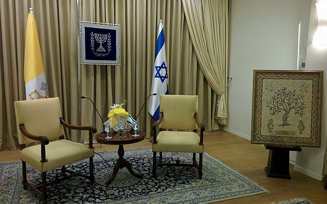 The room where Peres and the pope will meet. On the left is a mosaic made by Galilee children which will be presented to Francis. (photo credit: Haviv Rettig Gur / Times of Israel)