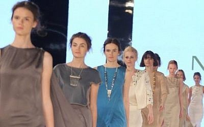 Walking down the Gindi Tel Aviv runway in the new collection of Maskit (Courtesy Maskit)