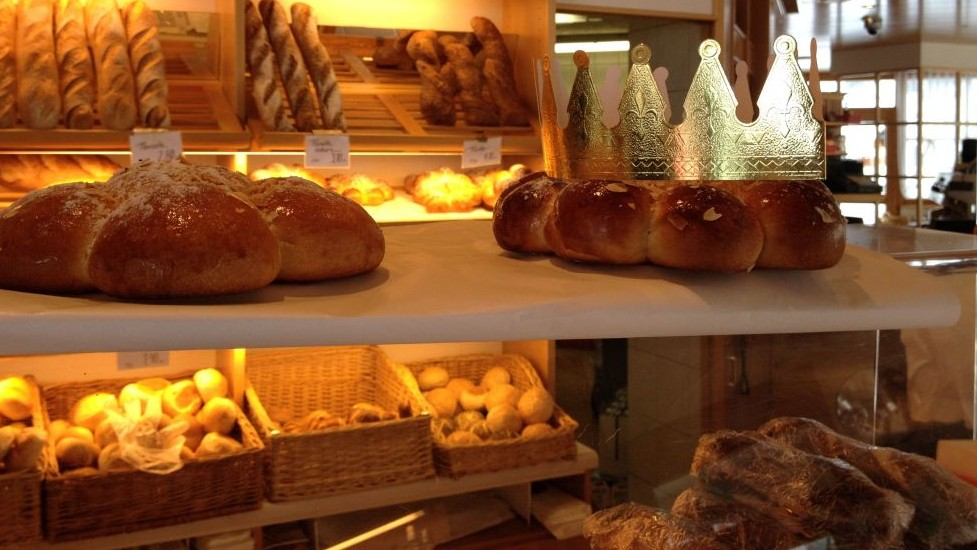 There are many bakeries in town, most selling breads, cakes and chocolates, and often with tables for sitting and having a cup of coffee (photo credit: Jessica Steinberg/Times of Israel)