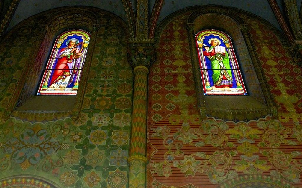 Stained glass windows in the chapel of the St. Louis French Hospital in Jerusalem. (photo credit: Moti Tufeld)