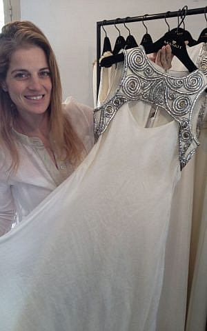 Tal's flagship bridal dress for the first Maskit collection, also currently featured in the Israel Museum's Dress Codes exhibit (photo credit: Jessica Steinberg/Times of Israel)