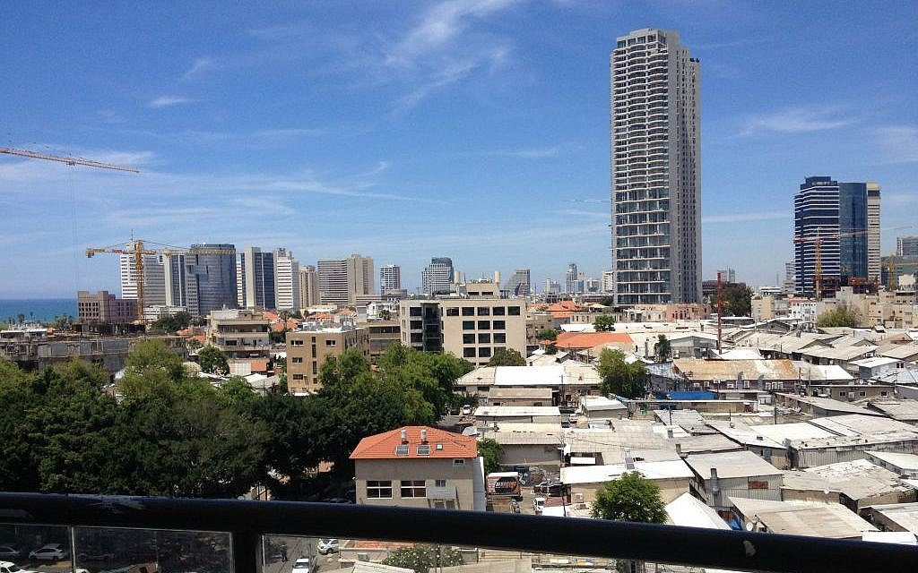 View from an 8th-floor apartment in one of Ilan Pivko's new Florentine buildings (photo credit: Jessica Steinberg/Times of Israel)
