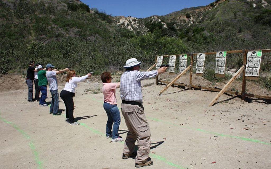 3-G Holocaust survivor children at target practice (Anthony Weiss/JTA)