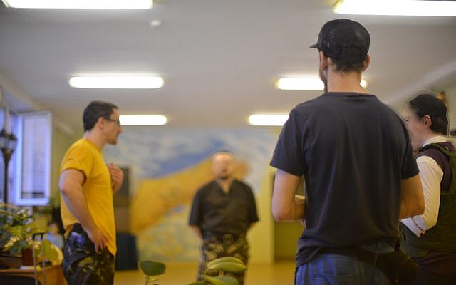 Members of Kiev's Jewish Self-Defense Force train at the a Jewish school on May 21, 2014. (photo credit: Cnaan Liphshiz/JTA)