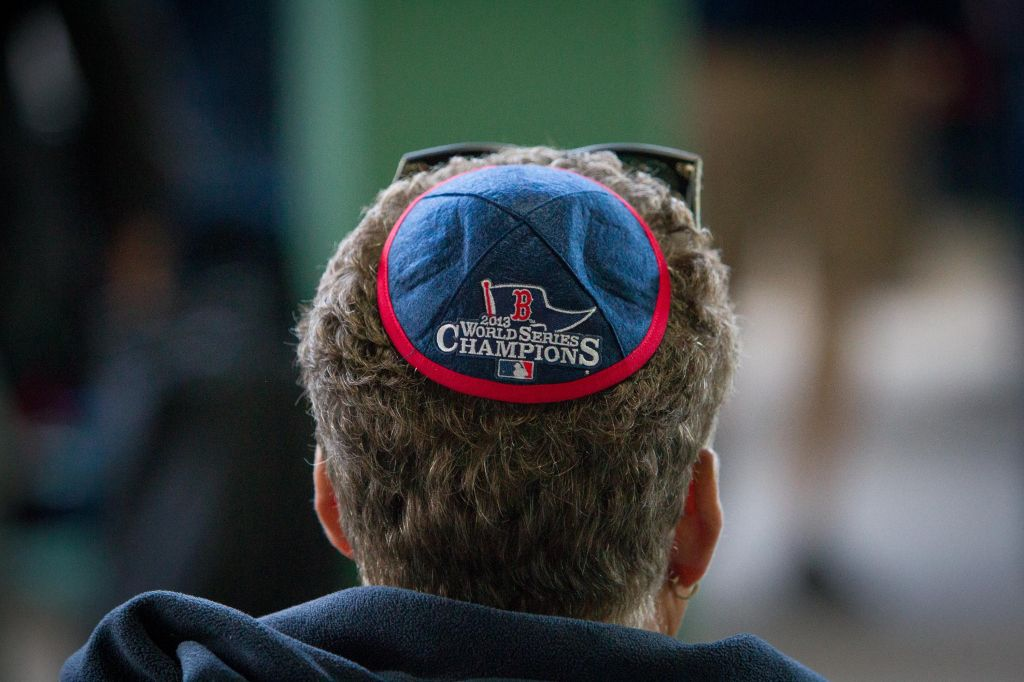 09f25825eb7 Hundreds of Red Sox-engraved kippot were given out at Fenway Park s Jewish  Heritage Night